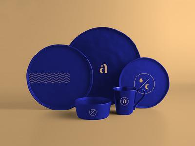 aQUALUNA Dinnerware class navy brasserie restaurant identity branding luna aqua
