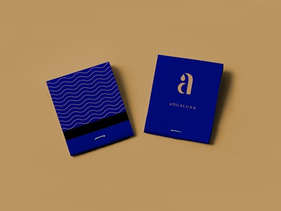 aQUALUNA Matchbook class navy brasserie restaurant identity branding luna aqua