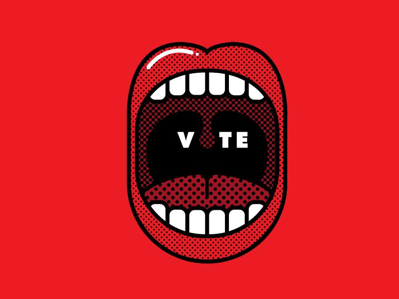 Go Vote halftone mouth illustration vote go vote