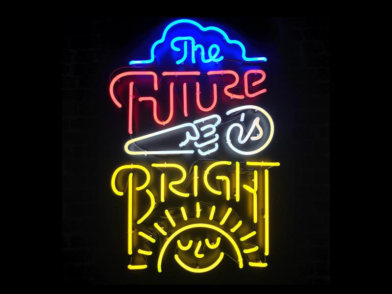 The Future is Bright! custom lettering sun slack lettering bright neon