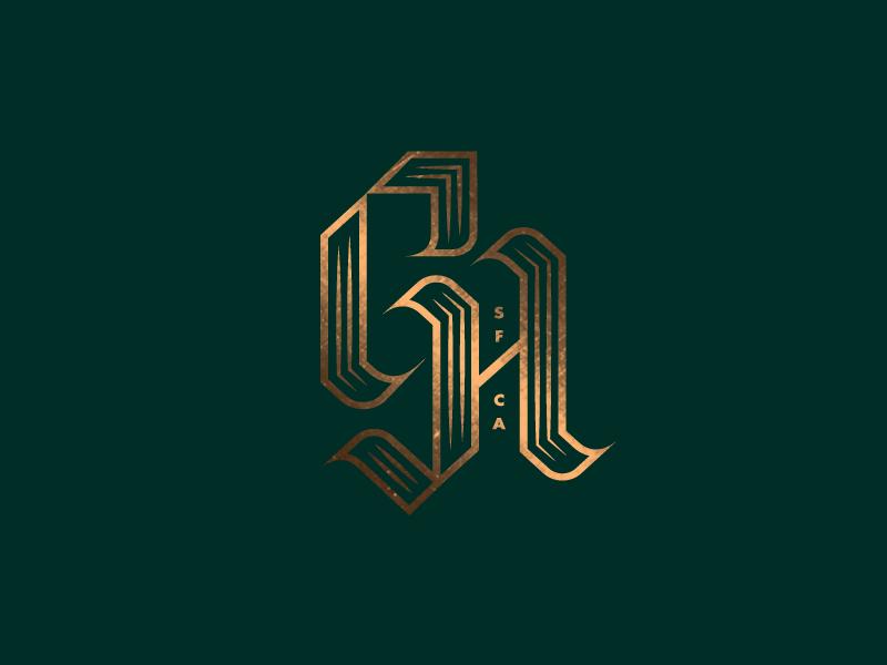 G H sf logo identty branding typography barber lettering blackletter monogram