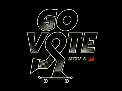 Go Vote flag us america halftone skate skateboard voting govote vote