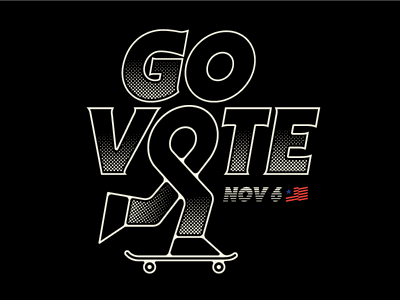 Go Vote flag us america halftone skate skateboard voting govote vote