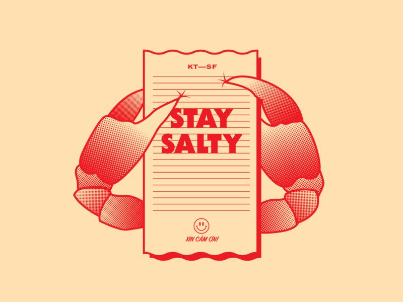 Stay Salty sf san francisco illustration food branding crab salted crab vietnamese chinese restaurant kim thanh