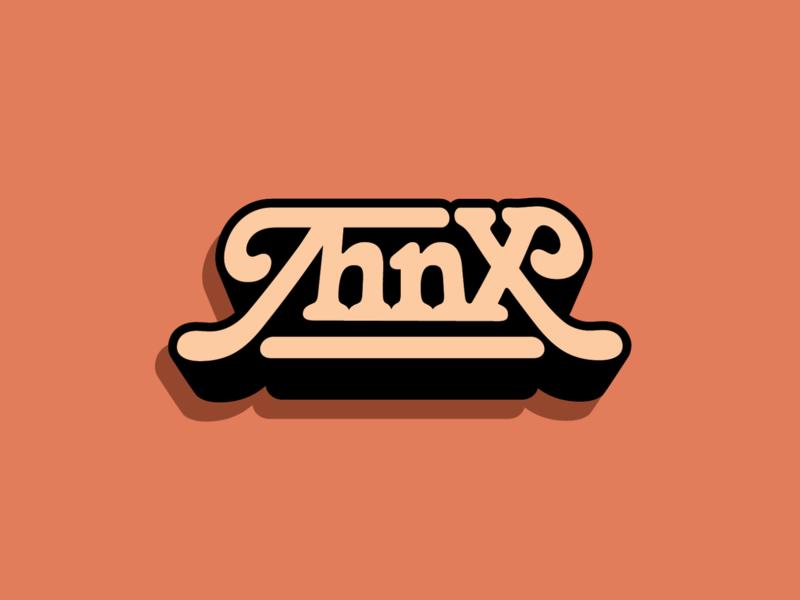 THNX Logo blaxploitation funk 70s custom lettering logotype design logo design lettering typography band music logo thnx