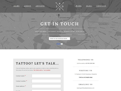 Life & Death Tattoos - Website lifedeath life death tattoos wordpress website black grey