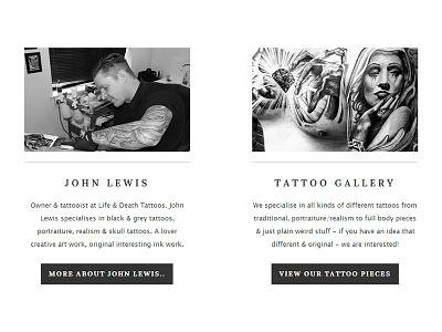 Life & Death Tattoos - Website - Element lifedeath life death tattoos wordpress website black grey element ui tattoo