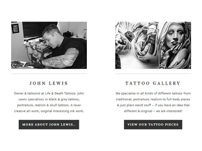 Life & Death Tattoos - Website - Element lifedeath life death tattoos wordpress website black grey element ui tattoo