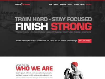 Finish Strong - Website Homepage Concept landing living fitness finish strong kettle crossfit website ui homepage landing page