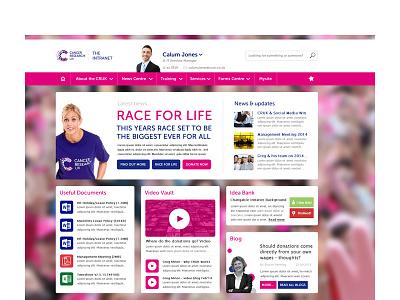 CRUK SharePoint 2013 Intranet Concept sharepoint sharepoint 2013 intranet ui branding pink