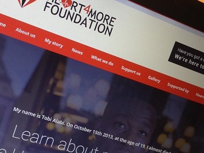 Heart4More Foundation / Homepage web website design flat ui red wordpress charity