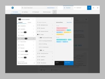 Market Intelligence Platform by Contify · Smart filters