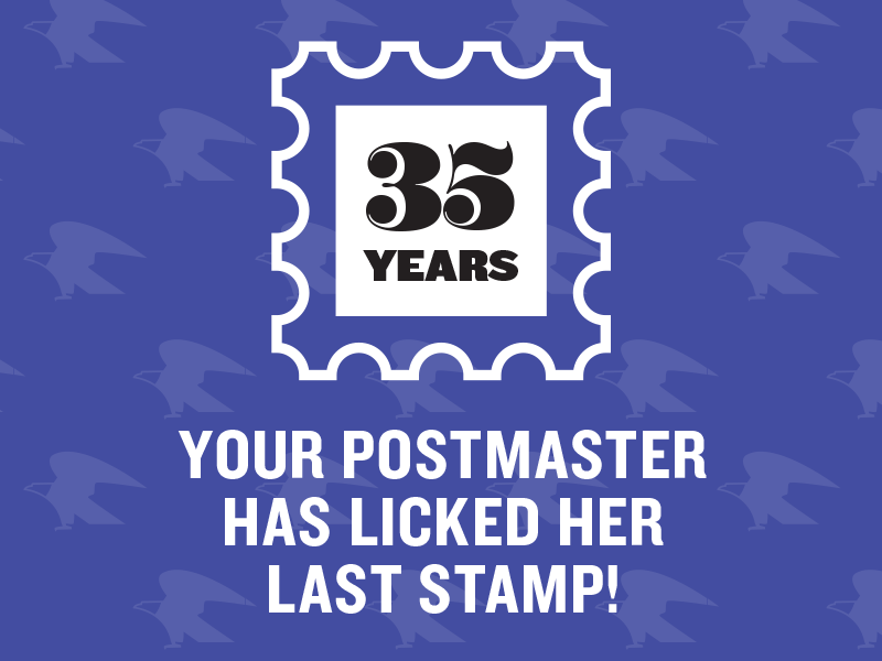 Postmaster Retirement Party Poster postmaster airmail retirement knockout worthe numerals post office