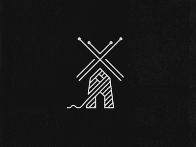 Yarn Mill Logo Mark mark mill yarn lineart lines design logo