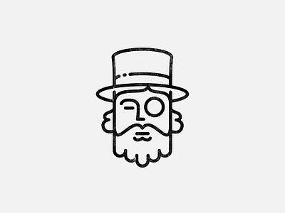 Gentleman linework logo beard hat gentleman ink lineart line design logo
