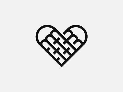 Fork Love line-art heart forks food design mark logo
