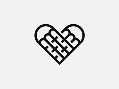 Fork Love line-art heart forks food design mark logo