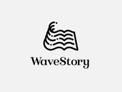 Wavestory logo water book story waves line-art logo