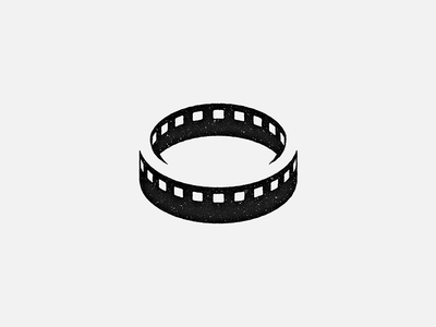 Logomark for a film production company black-and-white film movie circle loop endless logo logomark