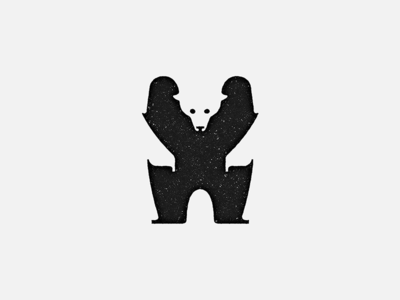 The Bear - Animal Series black minimal animal bear negative-space mark logo