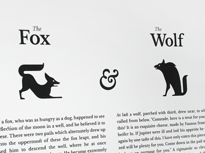 The Fox & The Wolf animals story black-and-white illustration wolf fox
