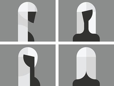 Shapes - Abstract figure study feminine minimal black-and-white basic-shapes figure illustration