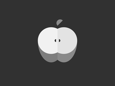 Shapes - Apple segment construction study black and white shapes minimal circle arcs study apple illustration