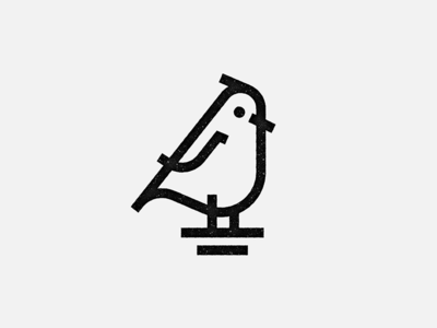 Robin - Line Mark simple black-and-white bird mark line-art logo