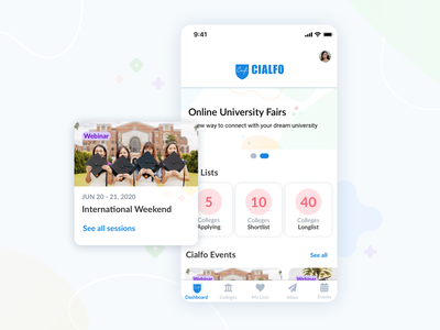 Cialfo Mobile Events ios ux ui design app cialfo mobile app design product