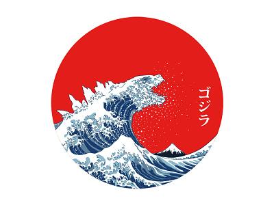 Hokusai Gojira kaiju ukiyoe wave great wave the great wave off kanagawa japanese japan gojira godzilla hokusai