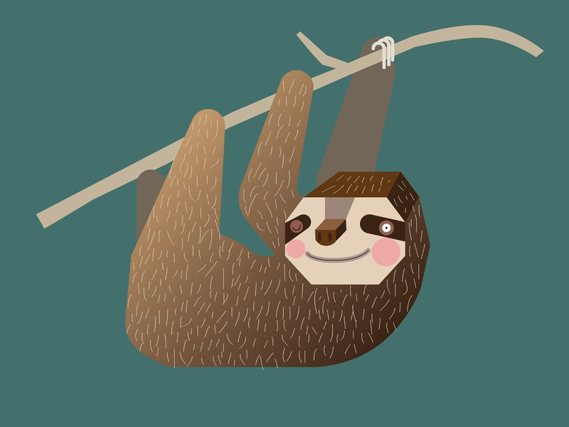 Sleepy Sloth mascot simple minimal funny child texture hanging lazy green kids wildlife nature cute geometric character cartoon illustration animal sleepy sloth
