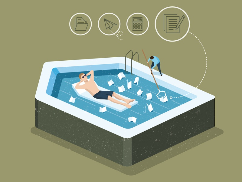Tax Representation business man man home accounting relaxing finances lifestyle conceptual illustration editorial illustration tax business flat illustration flat editorial isometric summer illustration swimming pool swimming pool