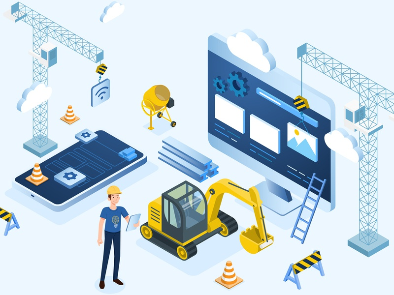 Isometric Scene isometry scene isometric design software design software tech isometric illustration building site app design web digital construction builder building illustration character vector isometric