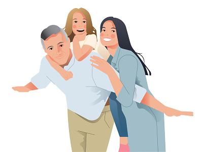 Family Portrait design editorial women minimal parents couple daughter portrait flat illustration families happy illustration flat character vector family portrait family