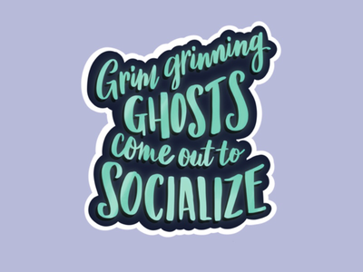 Grim Grinning Ghosts lettering haunted mansion disney
