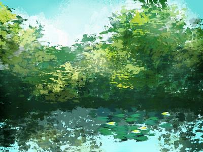 Pond digital kyle t webster pond lake impressionist digital painting painting