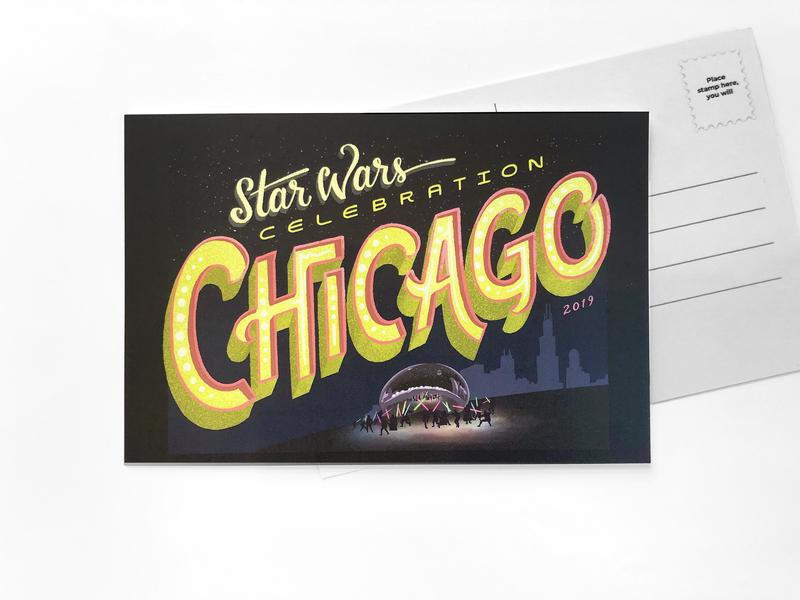 Star Wars Celebration Postcard lightsaber chicago star wars procreate lettering design illustration