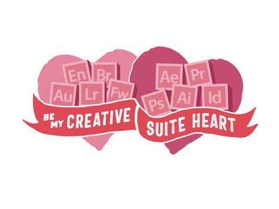 Creative Suite Heart valentines day vector hand lettering lockup branding typography logo graphic design illustration lettering design