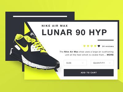 NIKE Air Max Lunar 90 HYP - Product card fashion card air max nike shoe user interface ui design product ui shoes nike