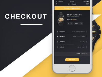 E-Commerce Checkout Screen iOS app user interface product ui ecommerce app design iphone ios ui design ui fossil watches watch fossil