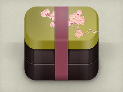 sakura bento box icon icon app mobile bento lunch japan box iphone ipad texture ios sakura flower pink green wood food