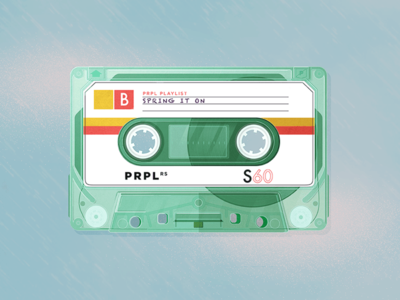 Spring It On [Get Sprung] prpl mixtape playlist spotify vector illustration spring cassette tape