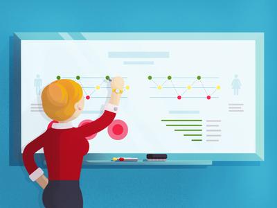 CXM Illustration charts infographic board woman cxm blog vector illustration