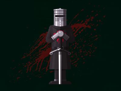 None Shall Pass! grail holy illustrator python monty sword blood knight black illustration