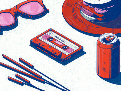 BBQ Bangers prpl illustration picnic can beer bbq iso playlist mixtape