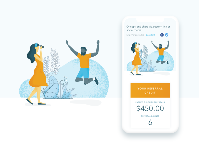 Refer A Friend Page Redesign mobile refer referafriend sketch vector ui illustration