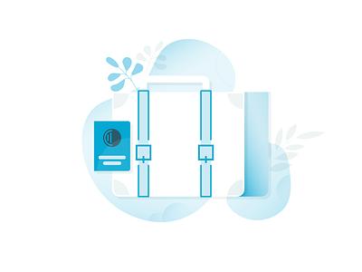 Luggage botanical design vector adobe ui illustration icon travel luggage suitcase