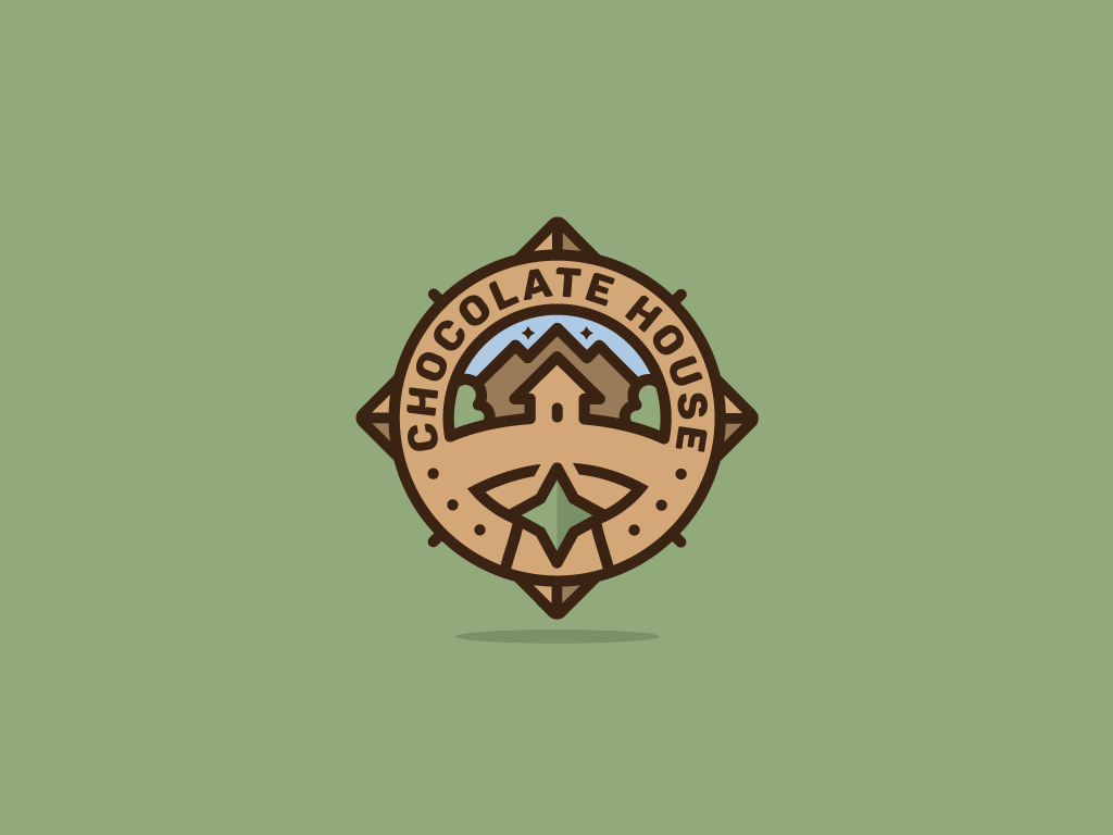 Chocolate House line art emblem logo round logo brown house logo chocolate illustration vector logo logo design freelance logomark monkeymark
