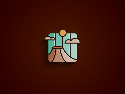 VOLCANO [logo concept] bright colors tints shading logos volcano logo freelance logo lava eruption volcanology volcano logo design vector illustration monkeymark