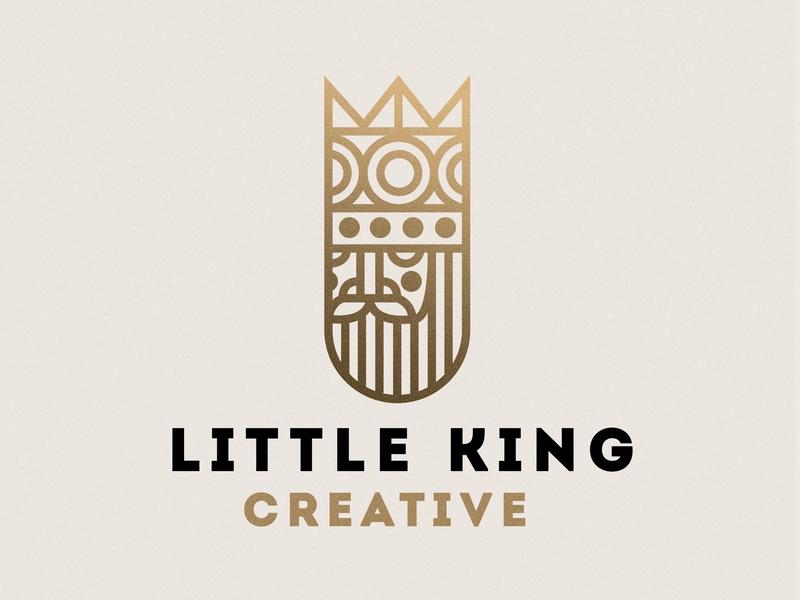Little King Creative   Logo Design logo alphabet playing card card gold illustrator photoshop gradient branding logo design personal branding personal brand monoweight monoline beard face crown king logo
